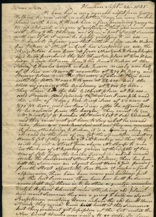 "Manuscript letter to son seeking his help with ""French land Claim"" William Ashley."