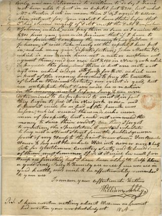 "Manuscript letter to son seeking his help with ""French land Claim"""