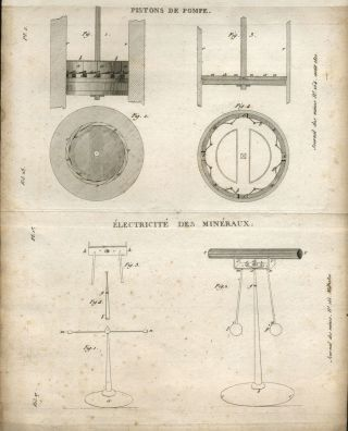 3 Engravings: Crystals and mining machinery. French Journal des Mines