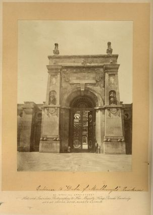 Large mounted albumen photograph of the Eastern Gateway of Blenheim Palace. Photography, Hills...