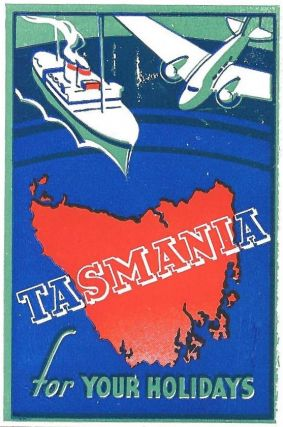 Tasmania for Your Holidays - poster stamp map. Tasmania