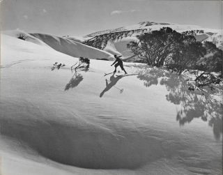 Original b/w photograph of a skier in the southern portion of the New Zealand Alps. New Zealand,...