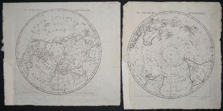 The Northern Hemisphere / The Southern Hemisphere, with Cook's 2nd & 3rd Voyages tracked....
