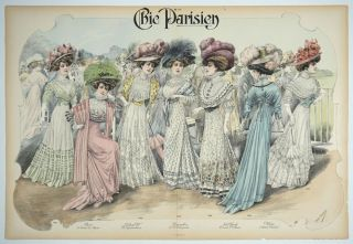 Chic Parisien. Lithograph. Fashion print