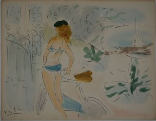 Woman in bikini with bicycle. Chromolithograph. Marcel Vertes