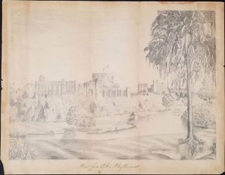 "Pencil drawing of Windsor Castle, ""View from Eton Playground"" Windsor Castle, Original Art"