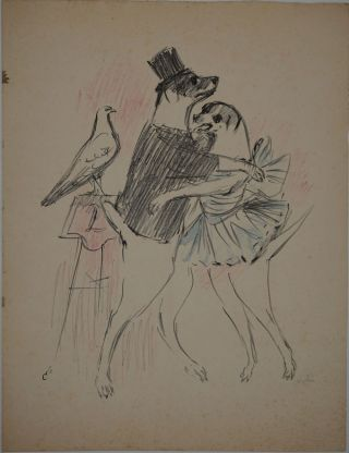 Two dogs dressed in top hat and dress dancing, with a pigeon watching them] Lithograph with...