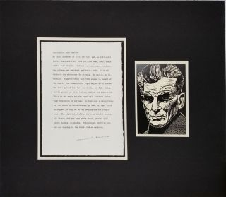 Samuel Beckett Signed Text and Portrait. Autograph, Samuel Beckett.