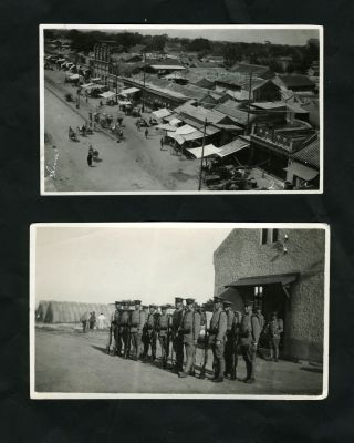 2 China snapshot photos: Peking View & Chinese Troops in Tientsin. China, Photographs