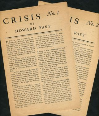 Crisis No. 1 [and] Crisis No. 2. Folded Broadsheets. Communism, NY Peekskill.