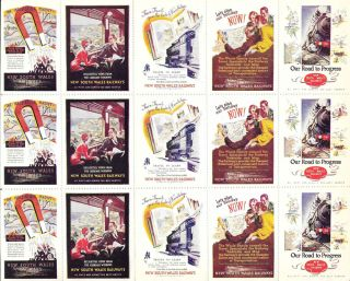 Full sheet of 15 poster stamps promoting the New South Wales Railways. New South Wales