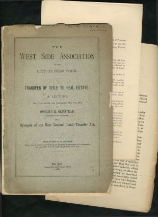 'The West Side Association of the City of New York, Transfer of Title to Real Estate, A Lecture,...