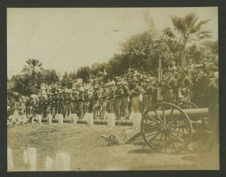 Philippine American War: 21 Gun Salute at cemetery. Photograph. Philippines, Photography
