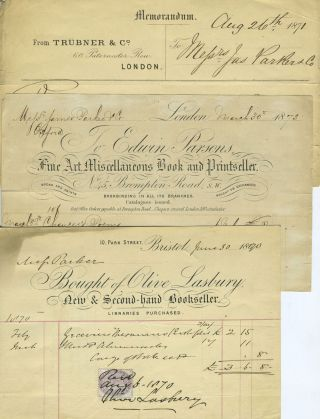 Bookseller invoices from London and Bristol, with franked envelopes. Bookselling.