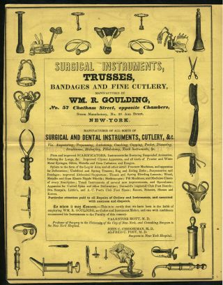 Surgical Instruments, Trusses, Bandages and Fine Cutlery, Manufactured by Wm. R Goulding....