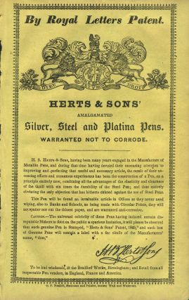 Herts & Sons' Amalgamated Silver, Steel and Platina Pens. Handbill
