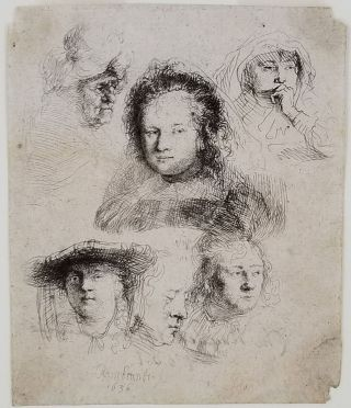 [Studies of the Heads of Saskia and Others] signed on the verso by the Parisian print seller Naudet, dated 1801. 1 Rembrandt, Rembrandt van Rijn, Leiden Dutch, Amsterdam.