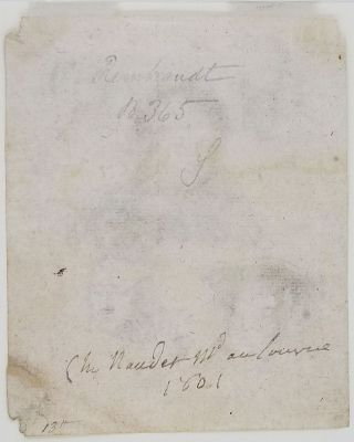 [Studies of the Heads of Saskia and Others] signed on the verso by the Parisian print seller Naudet, dated 1801.