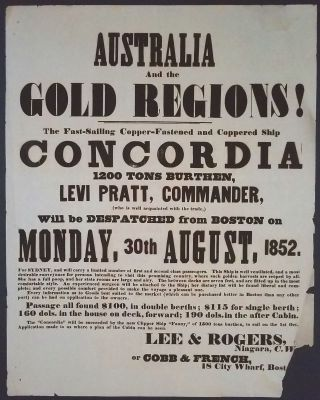 AUSTRALIA And the GOLD REGIONS! The Fast-Sailing, Copper-Fastened, and Coppered Ship CONCORDIA,...