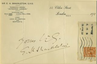 Autograph of Ernest Shackleton, on his letterhead paper, with franked stamp. Antarctic, Autograph.