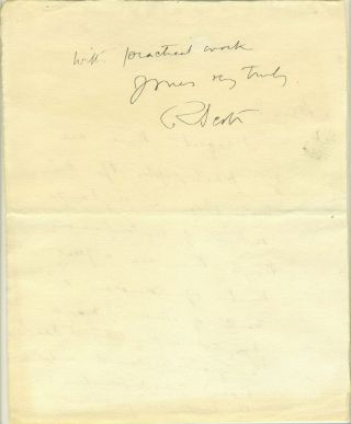 Autograph letter from Scott, written in the Antarctic, possibly with a partial fingerprint....