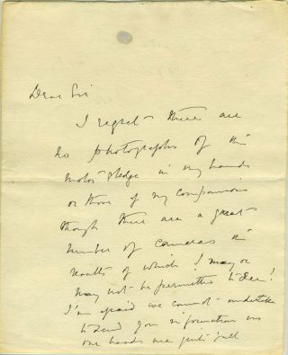 Autograph letter from Scott, written in the Antarctic, possibly one of his last autographs.