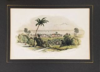 """Singapore Roads with the English Residences, Institution, & c"". Lithograph. George Edward Madeley"
