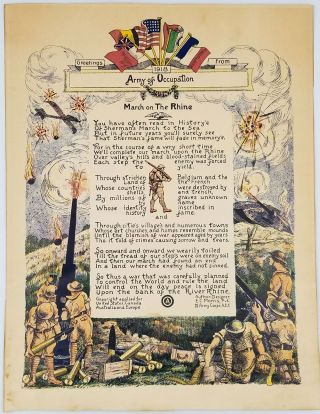 "Greetings from 1918 Army of Occupation. ""March on the Rhine"". Broadside. Pvt. IV Army Corps..."
