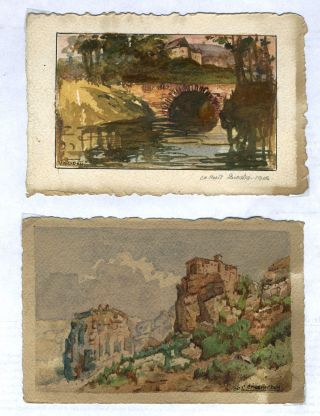 Set of 4 original art postcards created by professional French artists and students at the Comite des Etudiants Americains de l'Ecole des Beaux Arts, Paris in WWI.