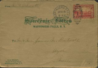 Wappingers Falls, NY Souvenir Letter from 1909 with printed photographs, sold by S.D. Wixson 5...