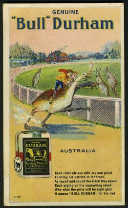 Bull Durham tobacco advertising postcard, with kangaroos