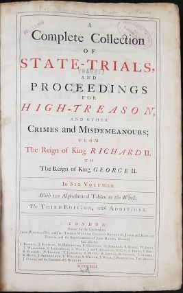 Treason Trials of Sir Walter Raleigh & Guy Fawkes] in: A Complete Collection of State-trials and...