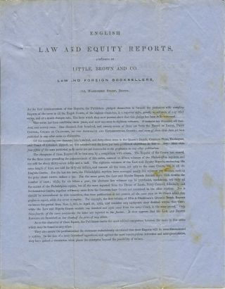 English Law and Equity Reports, published by Little, Brown and Co. Advertising letter sheet....
