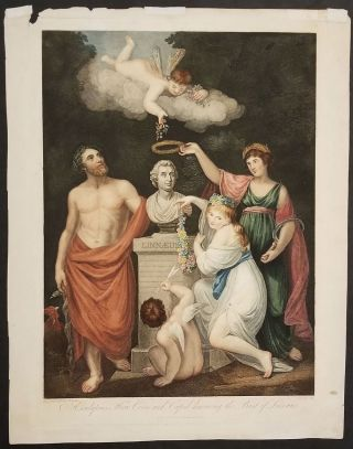 Aesculapius, Flora, Ceres and Cupid honouring the Bust of Linnaeus. Engraving. Dr. Robert...