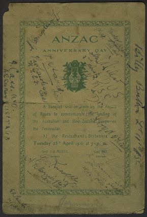 ANZAC Anniversary Day. Commemorative menu and program for the First ANZAC commemoration, 25th...