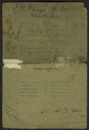 ANZAC Anniversary Day. Commemorative menu and program for the First ANZAC commemoration, 25th April 1916 in London, AUTOGRAPHED by Attendees.