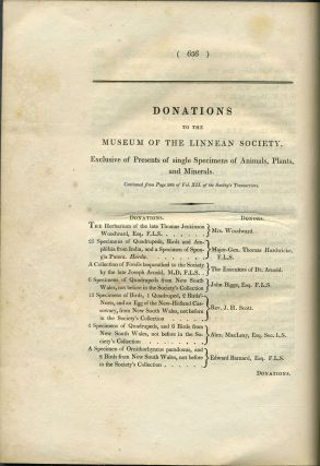 """Letter on Platypus in """"Extracts from the Minute Book of the Linnean Society of London"""""""