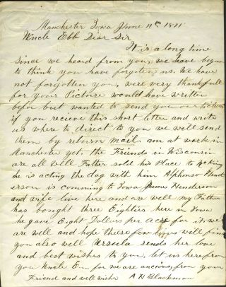 1871 letter from Manchester, Iowa Quaker, giving land prices for farm land. Iowa Land Grants, Almanzo H. Blackman.