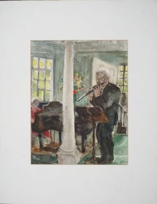 Watercolor of Julius Baker, head flute NY Philharmonic. Beata Beach, Porter