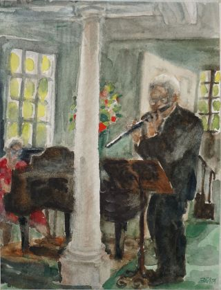 Watercolor of Julius Baker, head flute NY Philharmonic.