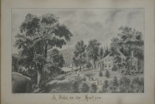 A Villa on the Hudson, a young woman's superb pencil drawing of the image after Currier & Ives....