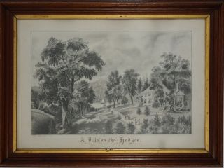 A Villa on the Hudson, a young woman's superb pencil drawing of the image after Currier & Ives.