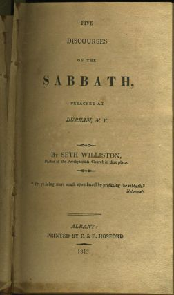 Five Discourses on the Sabbath Preached at Durham, NY.