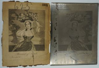 Reward of Merit. (or) Love Among the Roses; original steel printing plate & engraved pull. T....