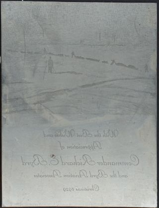 Printing plate from the Christmas card sent in 1929 from the Byrd Aviation Association....