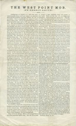 """The West Point Mob"". Broadside on racism at the Academy. Black Interest, Racism, West Point."
