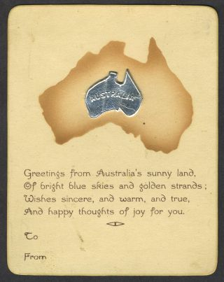"""Greetings from Australia's sunny land"". Card with applied metal map of Australia. Greeting Card"