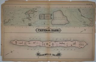 """Central Park. Blackwells Island"". Maps printed on 1 sheet. George W. Bromley, Walter S"