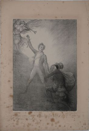 """L'Avare Entraine par le Prodigue Apporte son Or a la Defense Nationale"". Lithograph. Charles..."