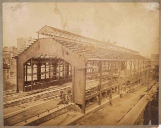 """""""Work in Progress on the Brooklyn Pier of the East River Bridge, W. A. Roebling Eng'r"""". Albumen photograph [with] 3 Bridge Terminal albumen images."""